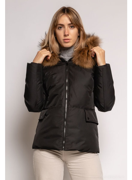 Attentif   Dames winterjas met bontkraag Parka jas 2 kort zwart