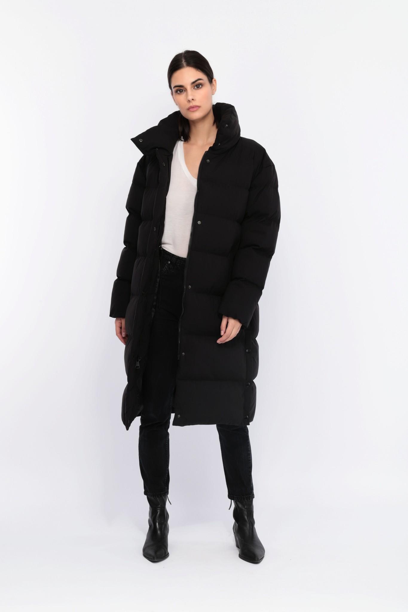 Dames winterjas half lang zwart