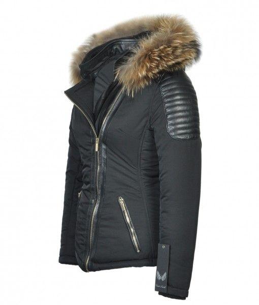 Attentif Dames winterjas met bontkraag JS zwart