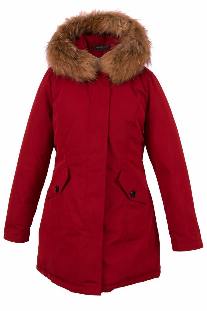 Attentif Dames winterjas met bontkraag parka 2 rood