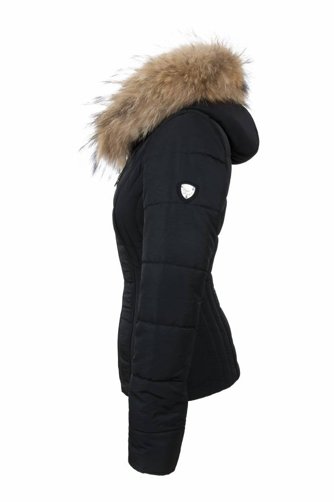 Carlo Sacchi Dames winterjas met Bontkraag 009 zwart