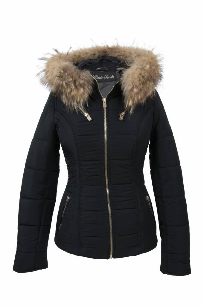 Winterjas Merk.Dames Winterjas Met Bontkraag Carlo Sacchi 009 Zwart Leather City