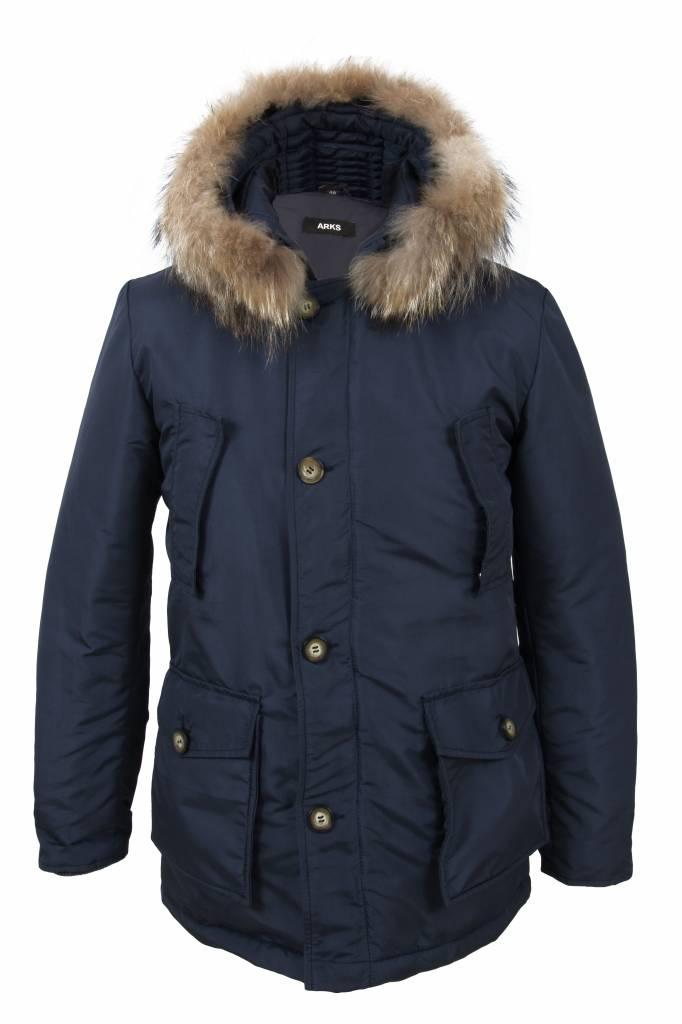 Winterjas Heren Blauw.Heren Winterjas Met Bontkraag Elmo Blauw Ak12 Leather City