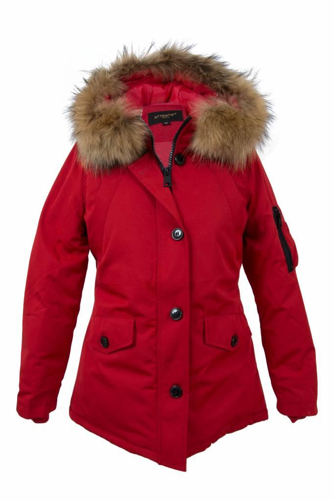 92e87f1d4d97f4 Attentif Dames winterjassen Parka 2 kort rood met bontkraag ...