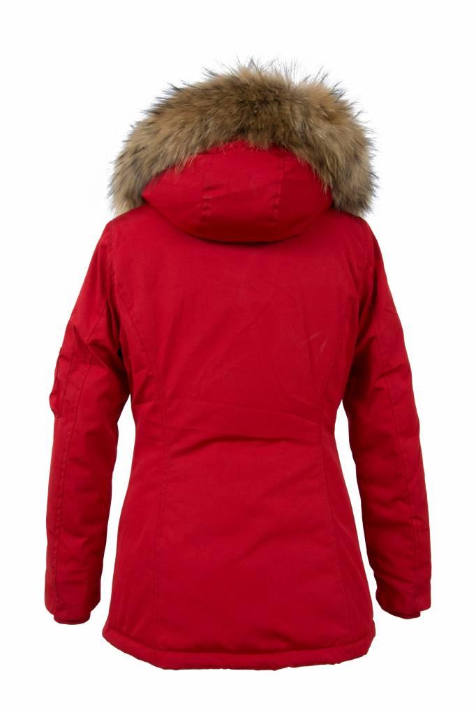 Attentif Dames winterjassen Parka 2 kort rood met bontkraag