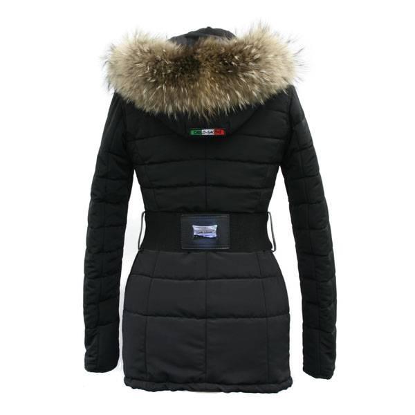 Carlo Sacchi Dames winterjas zwart met Bontkraag AK2