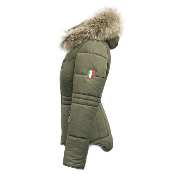 Carlo Sacchi Dames winterjas  groen met Bontkraag AK5