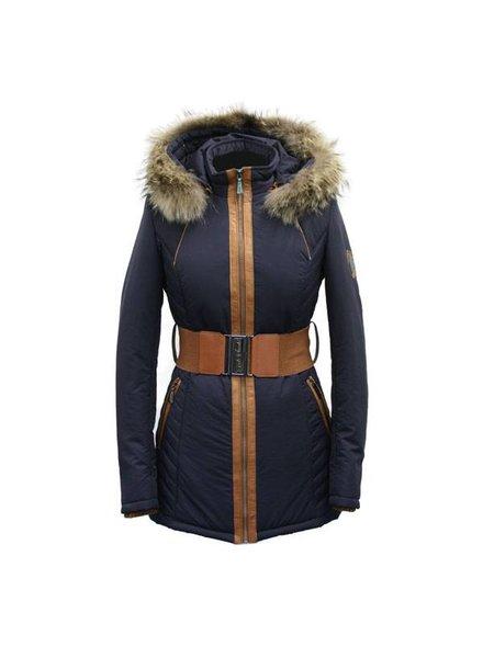 Dames winterjas met Bontkraag blauw AK6