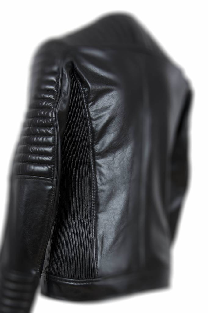 Carlo Sacchi leren jassen heren 999  zwart schuin rits