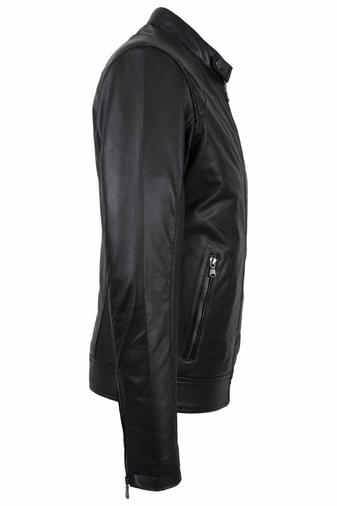 Carlo Sacchi Heren leren jas 996 zwart