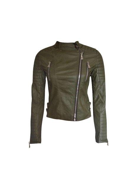 Imitatie dames biker  jas groen