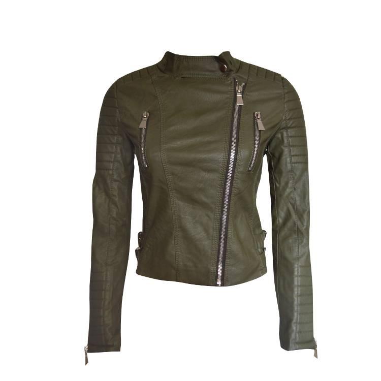 Grazy Lover Imitatie dames biker  jas groen