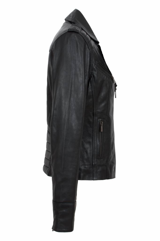 Carlo Sacchi leren jasje dames T2 zwart