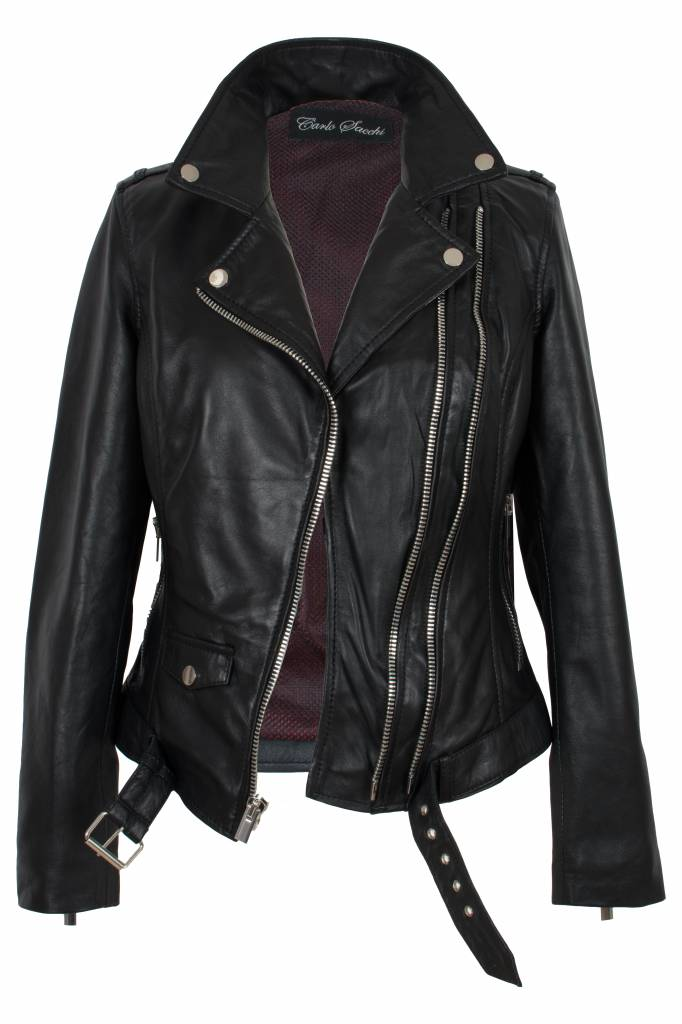 Dames Zwarte Winterjas.Leren Jas Dames Zwart Leather City