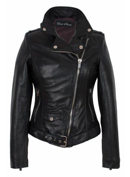 Carlo Sacchi Dames leren jas zwart perfecto