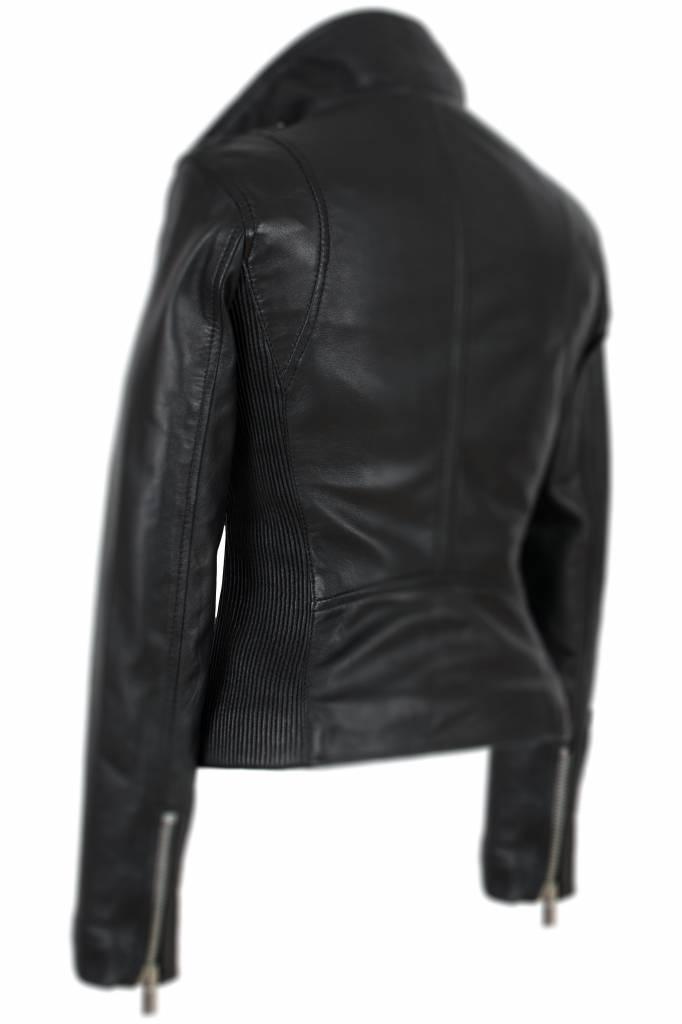 Carlo Sacchi Leren jas dames zwart perfecto