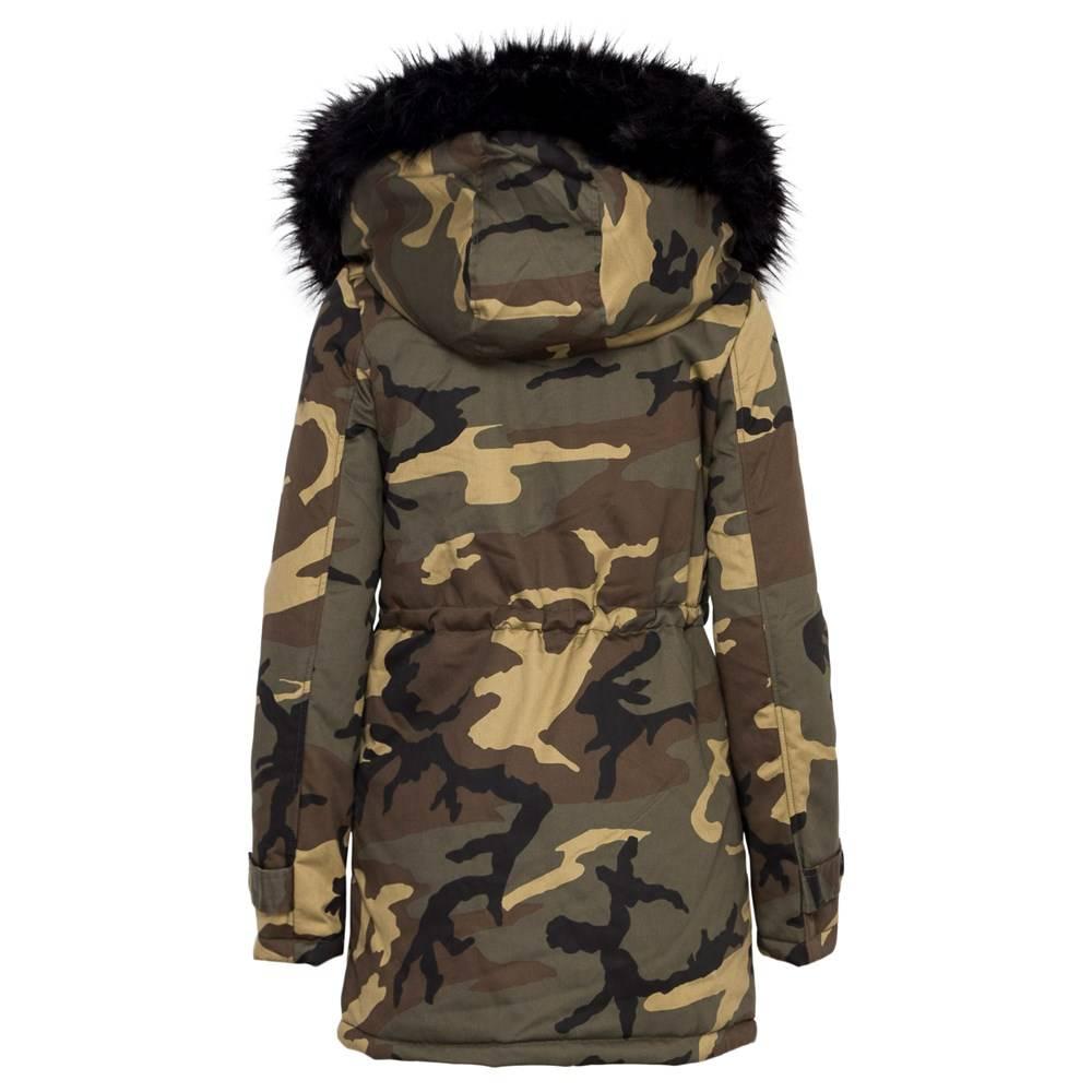 Attentif Dames winterjas parka zwart  met militair print