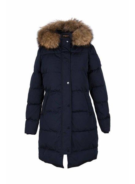 Attentif Dames winterjas met bontkraag lang parka blauw