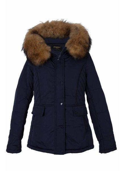 Attentif Dames winterjas met bontkraag parka 3 kort blauw