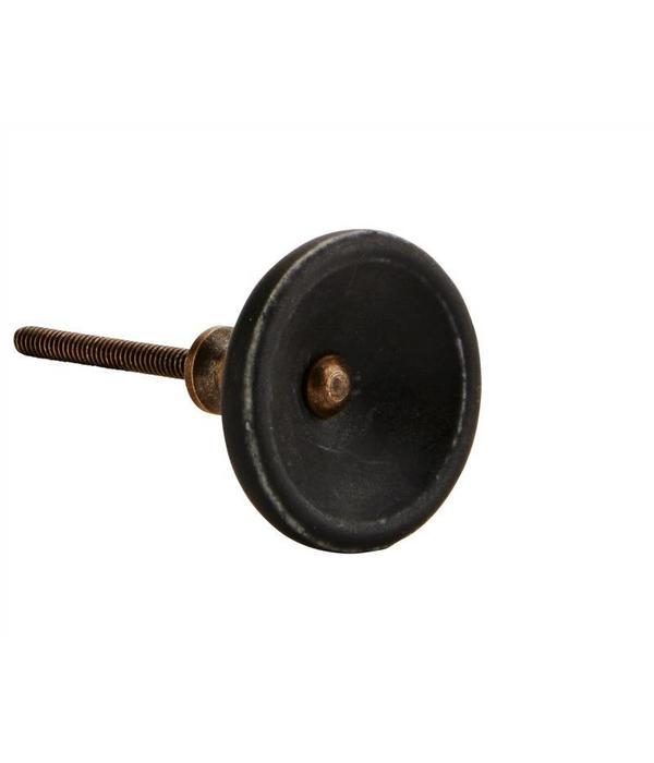 Madam Stoltz Kastknop Zwart Brass