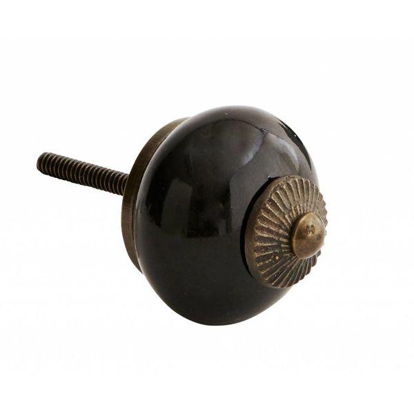 Kastknop Porselein Zwart Brass