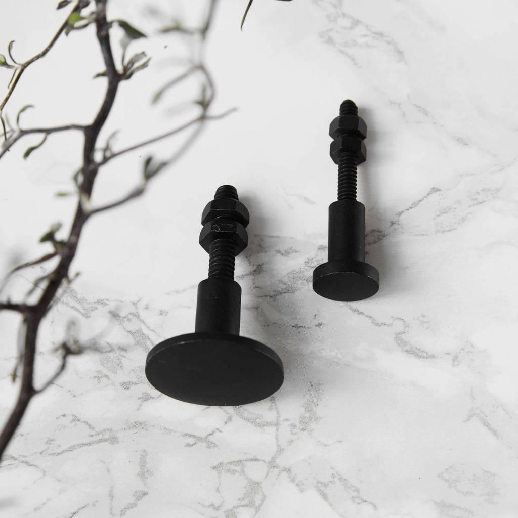 Zwarte Kastknop Rond Design Goed In Stijl Kapstokhaken En