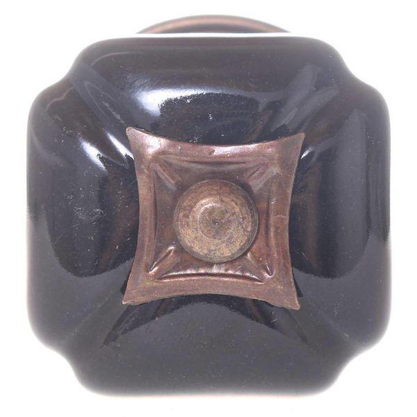 Kastknop Vierkant Zwart Porselein
