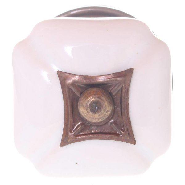 Kastknop Vierkant Wit Porselein