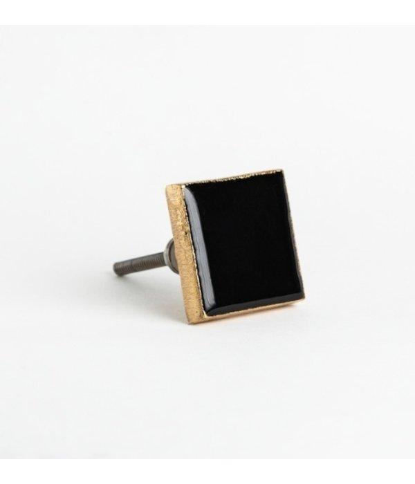 Kastknop Goud Zwart Vierkant