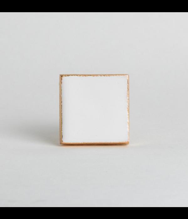 Kastknop Goud Wit Vierkant