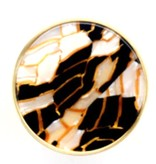 Kastknop Rond Goud Wit Zwart Tortoise