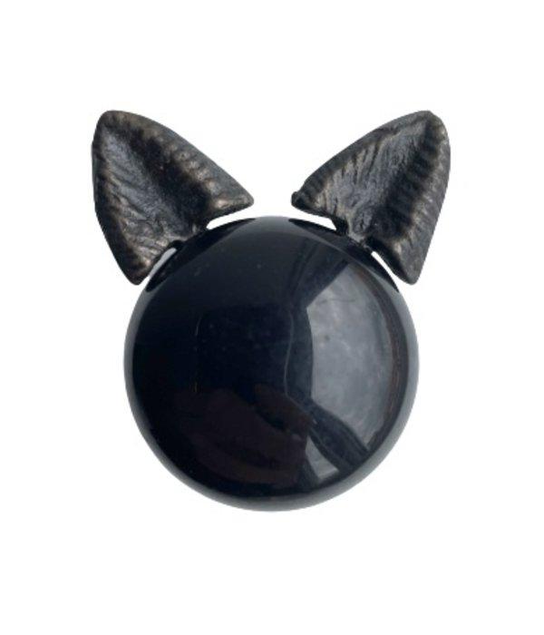 Kastknop Kat Zwart