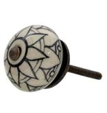 Kastknop Porselein Beige Zwart Blad