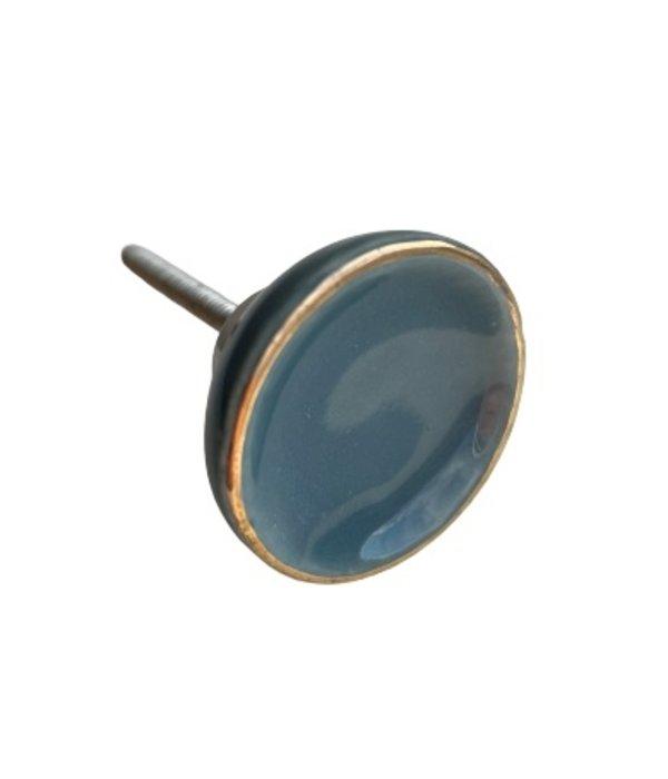 Kastknop Porselein Blauw Grijs Goud