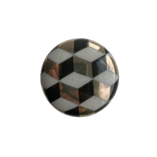 Kastknop Porselein Goud Zwart Illusie