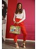 orange lange broek hoge taille