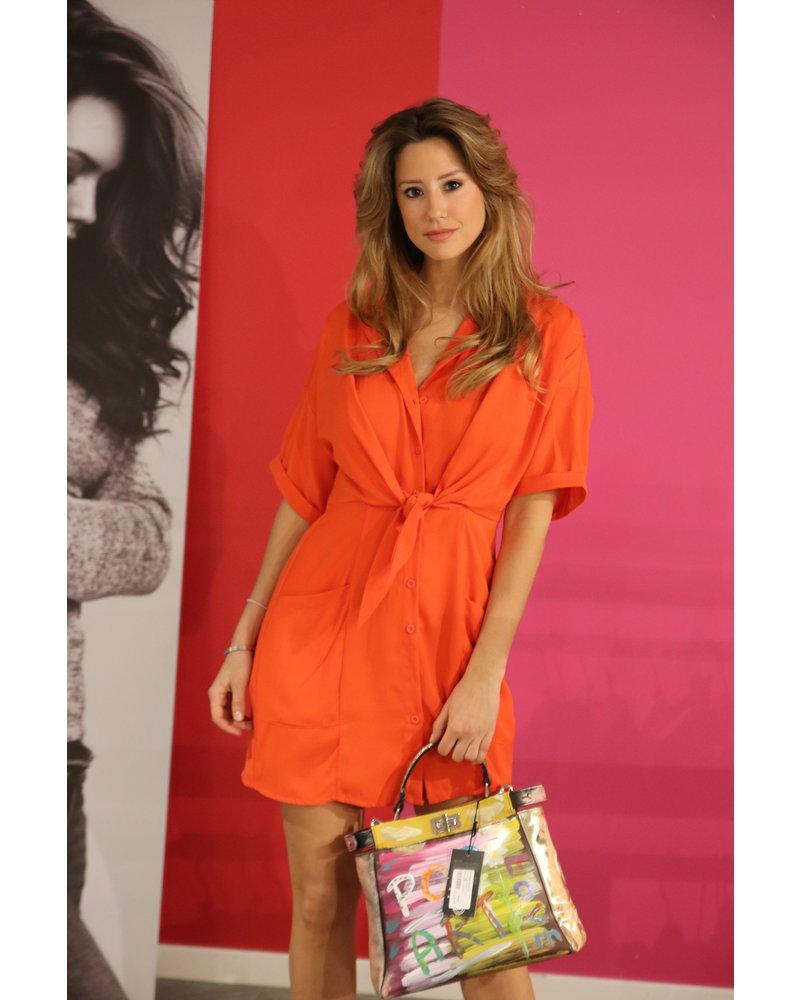 kort orange kleed