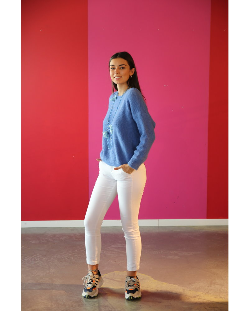 pull zacht met v jeansblauw