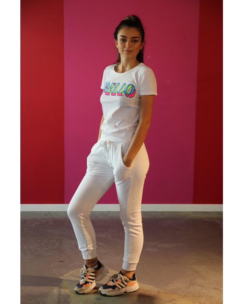t shirt wit met print assorti met jogging