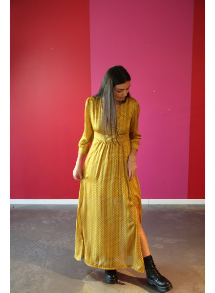 kleed lang okker tinten/kleine print