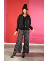 zwart losse bedrukte broek met elastiek