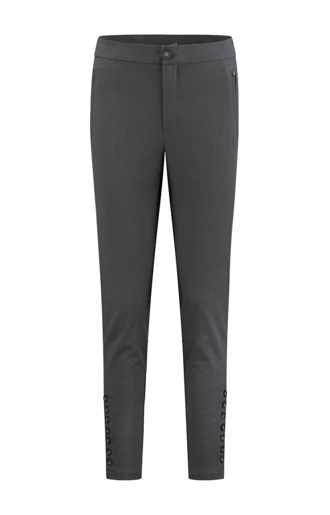 SYLVER Cotton Twill Trousers - Donkergrijs