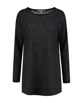 SYLVER Lace Top round neck - Donkergrijs