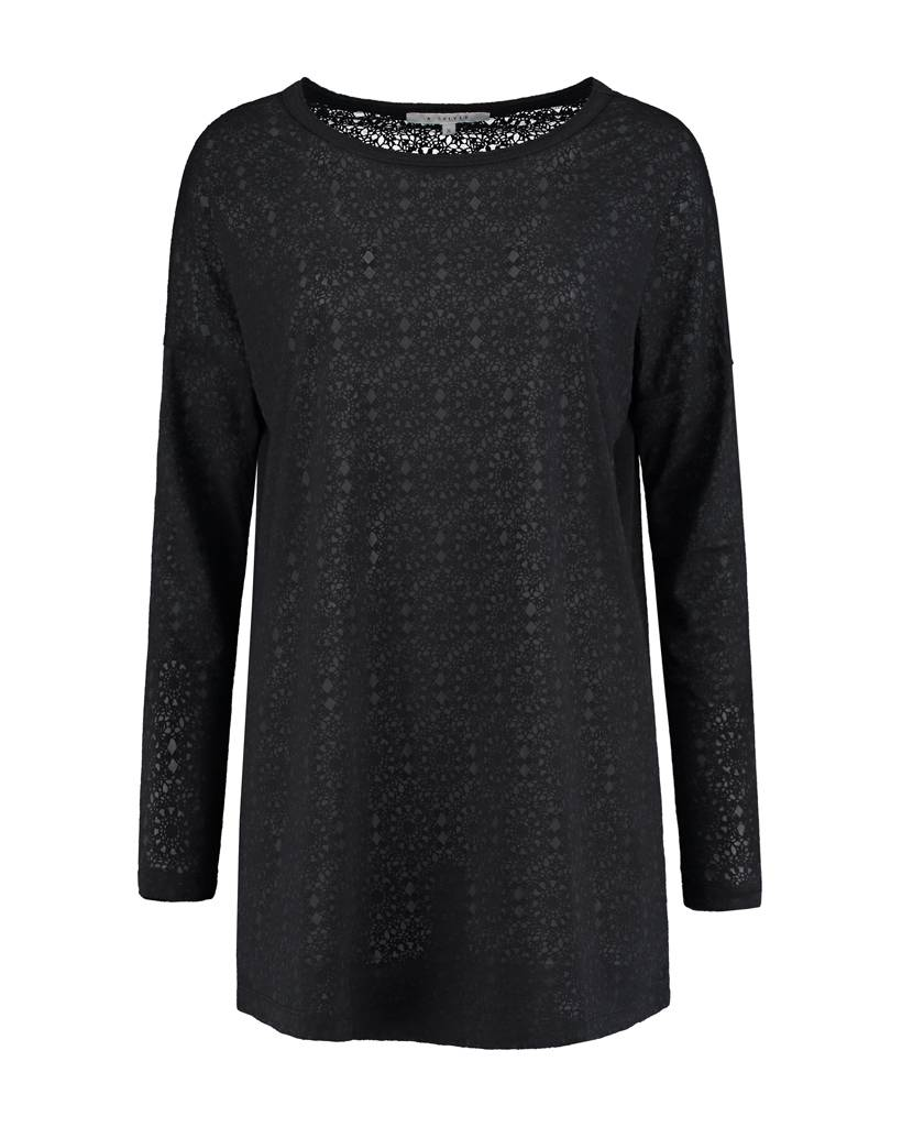 SYLVER Lace Top round neck - Charcoal