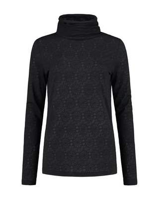 SYLVER Lace Shirt turtleneck - Donkergrijs