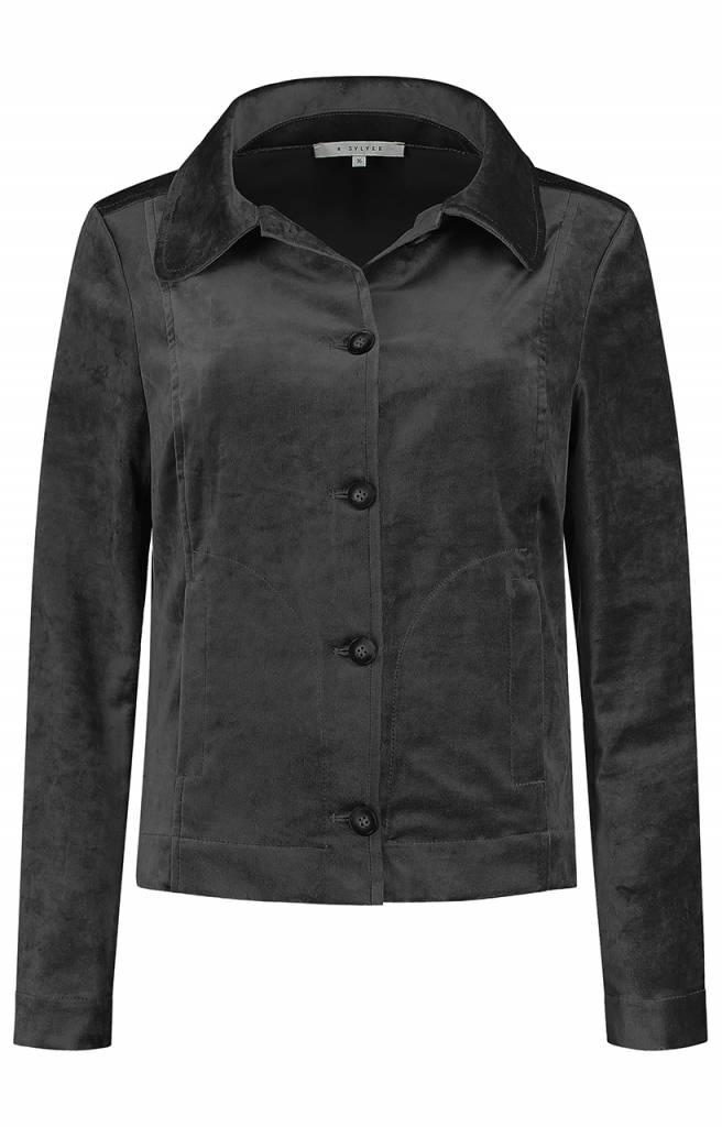 SYLVER Velvet Jacket - Donkergrijs