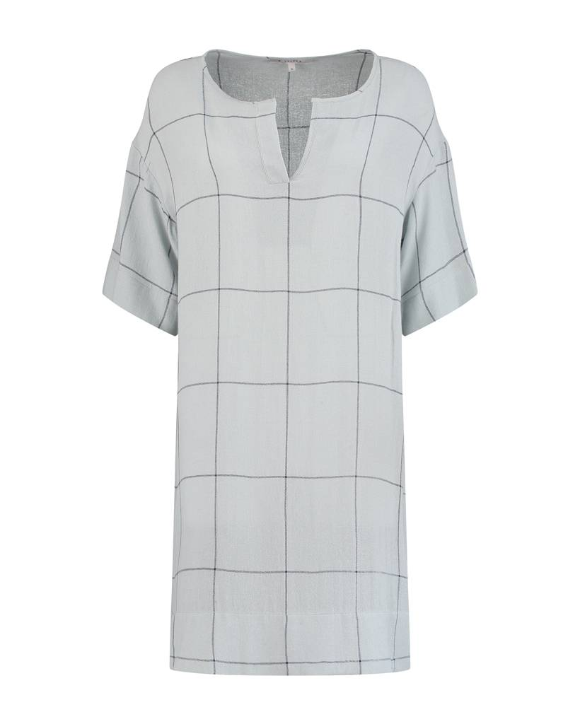 SYLVER Check Dress - Licht Grijsblauw