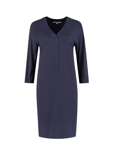 SYLVER Silky Jersey Dress - Donkerblauw