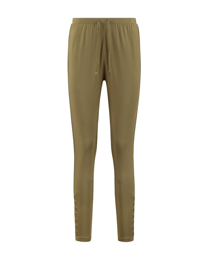 SYLVER Silky Jersey Trousers fancy - Olijfgroen