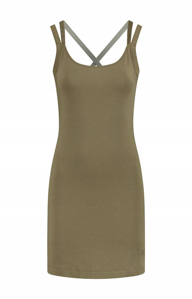 SYLVER Cotton Elasthane Dress - Bright Olive
